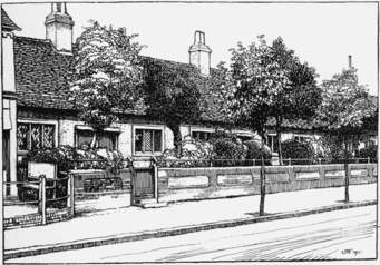 Drawing of ancient almshouses